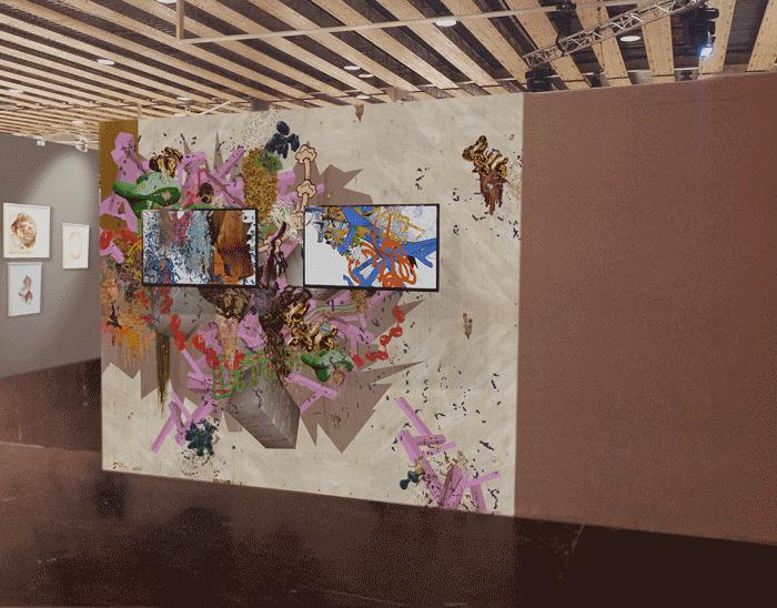 ©François Martinache - Installation vidéos - Foire d'art contemporain Art up, Lille - Animations 3D, sticker - 2014